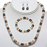 "Multi-Color Freshwater Pearl Necklace Earrings Bracelet Set 7-8MM 18"""