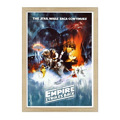 POSTER MANIFESTO ORIGINALE CINEMA CON CORNICE - INCORNICIATO - Star Wars - Saga Continued - Empire Strikes Back - Dimensione 70x100cm - Tradizionale Legno Naturale