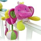 Happy Cherry - Juguetes Colgantes Espiral para cochecitos cunas de Peluche Veludillo con Sonidos para Beb�s reci�n nacidos Ni�os ni�as para Arrastrar - Elefante