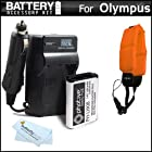 Battery And Charger Kit Bundle For Olympus TOUGH TG-1 iHS, TG-1iHS, TG 1 iHS, TG-2 iHS, TG-2iHS, TG-3 Waterproof Digital Camera Includes Extended Replacement (1500Mah) LI-90B, LI-92B Battery + Ac/Dc Rapid Travel Charger + Floating Strap + MicroFiber Cloth