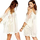 TOPUNDER Vintage Hippie Boho People Embroidered Floral Lace Crochet Mini Dress (XXL, White)