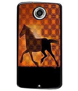 Fuson 2D Printed Horse Designer back case cover for Motorola Nexus 6 - D4572