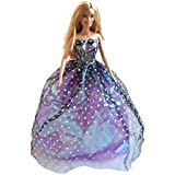 Barbie Strapless Gown, Purple Gown With Black Net