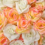 DREAMPARK ローズ バラ 造花 アレンジ 8センチ 手作り 50個 セット 結婚式 2次会 パーティー お祝い ブーケ (白25個 ピンク25個)DR055