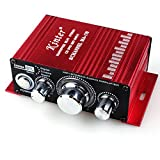 autoinbox ステレオアンプ デジタルアンプカー アンプ パワーアンプ 汎用 12V小型 高音質 重低音 レッドKinter MA-170