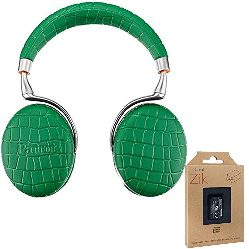Parrot Zik 3 Wireless Noise Cancelling Bluetooth Headphones (Emerald Green Croc) with Parrot Interchangable Battery for Zik 2 and Zik 3