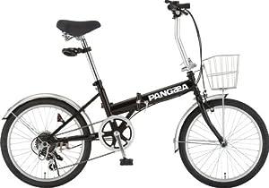 PANGAEA(パンゲア) ROBINSON ロビンソン 20インチ 折りたたみ自転車 ブラック シマノ6段変速 前後泥除け/カゴ/LEDライト/ワイヤーロック標準装備 73377-01