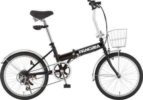 PANGAEA(パンゲア) ROBINSON ロビンソン 20インチ 折りたたみサイクル ブラック シマノ6段変速 前後泥除け/カゴ/LEDライト/ワイヤーロック標準装備 73377-01