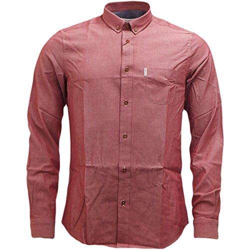 Ben Sherman -  Camicia Casual  - Basic - Con bottoni  - Maniche lunghe  - Uomo rosso Medium