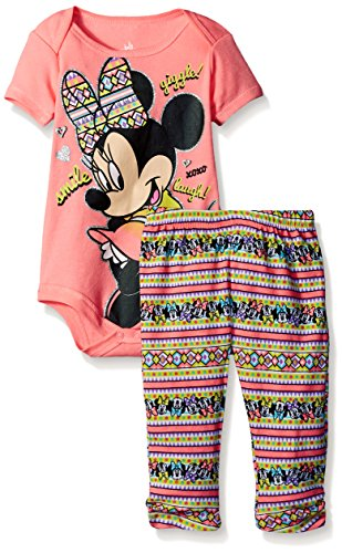 Disney Baby Minnie Mouse Bodysuit and Pant Set, Pink, 3-6 Months