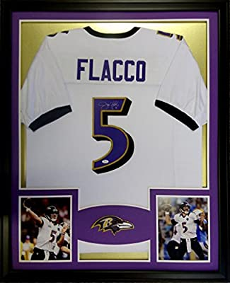 Joe Flacco Framed Jersey Signed JSA COA Autographed Baltimore Ravens