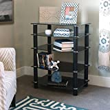 Walker Edison Glass Metal Black Media Component Stand/Tower