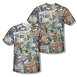 Rocky & Bullwinkle Collage All Over Print Front / Back T-Shirt
