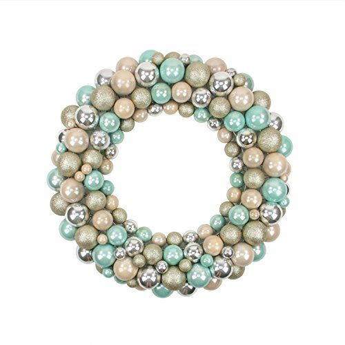 "24"" Pastel Dreams Seafoam Green, Pink, Silver and Gold Glitter Shatterproof Christmas Ball Ornament Wreath"