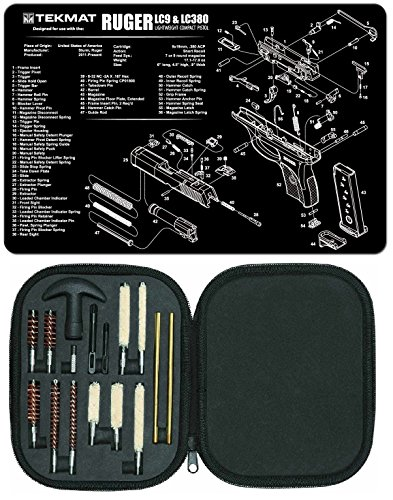 Ultimate Arms Gear Gunsmith & Armorer's Cleaning Work Tool Bench Gun Mat For Ruger LC9 LC-9 LC380 LC-380 Lightweight Light Weight Compact Pistol Handgun + Professional Cleaning Tube Chamber Barrel Care Supplies Kit Deluxe 17 pc Handgun Pistol Cleaning Kit in Compact Molded Field Carry Case for .22 / .357 / .38 / 9mm / .44 / .45 Caliber Brushes, Swab, Slotted Tips and Patches
