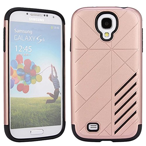 Galaxy S4 Case,Vandot Premium Ultra Thin Slim Fit Dual Layer Armor Hybrid Case Soft TPU Rubber Bumper+Hard PC Back Shockproof Heavy Duty Cover Protective Shell for Samsung Galaxy S4 I9500-Rose Gold