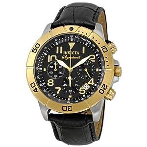 Invicta Signature II Chronograph Black Leather Mens Watch 7284