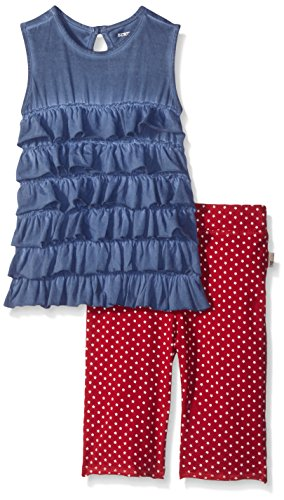 Burt's Bees Little Girls' Organic Tiered Ruffle Tank and Star Capri Set, Midnight, 3T