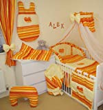 HEARTS 17 PCS BABY BEDDING SET (CARROT STRIPS / CREAM to fit cotbed with mattress size 140x70)