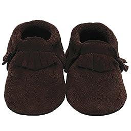 Mejale Baby Soft Soled Leather Moccasins Tassel Slip-on Infant Toddler Shoes Prewalker(brown,18-24 months)