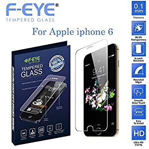 F-EYE® Apple iPhone 6 Tempered Glass, World's thinnest 0.1 mm Iphone Screen Protector with Superb flexibility , 2.5D Round Edge, 9H Hardness, Made From Real Tempered Glass, Shatterproof, Anti-Scratch Bubble-free, Oleophobic Coating, Safety Packing And Easy To Install In Your Smart Phone [Apple iPhone 6]