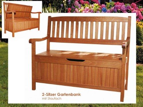 Truhenbank HOUSTON Holz Gartenbank mit Staufach 2-Sitzer Bank Sitzbank Gartenmöbel günstig online kaufen