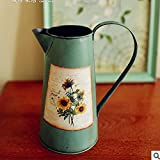 Home Furnishing American Country Tin Vase Flowers Flowers Bucket Cafe Shop Living Room Decorative Flower Flower...