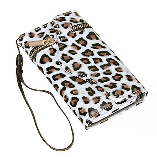 Mylife (Tm) Frost White + Hazel Brown Cheetah {Cute Design} Faux Leather (Card, Cash And Id Holder + Magnetic Closing + Hand Strap) Slim Wallet For The Iphone 5C Smartphone By Apple (External Textured Synthetic Leather With Magnetic Clip + Internal Secure