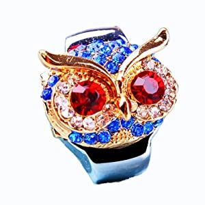 Coostyle Gift Box Packaging Colorful Owl Head Finger Ring Watches with Red Diamond Eyes Cool Stylish Silver Stainless Steel Clamshell Rhinestone Accessories Watches for Men Women (Blue) from DreamsEden INC