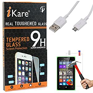 iKare Tempered Glass for Microsoft Lumia 435, Tempered Screen Protector for Microsoft Lumia 435 + Data Sync and Charging Cable