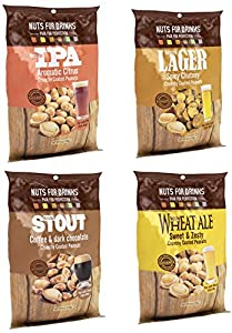 Nuts For Drinks|Crunchy Peanut Snack Pairs With Your Favorite Beer or Drink (IPA, Lager, Stout, Wheat Ale), 4 Pack