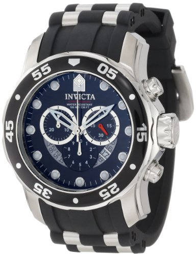 Invicta Men's Pro Diver 5040D Chronograph Watch 6977 with Stainless Steel Case, Black Sunray Dial and Black Rubber Strap
