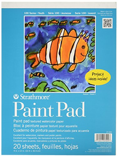 Strathmore STR-27-209 25 Sheet Kids Paint Pad, 9 inch by 12 inch textured paper. This paper is perfect for lasting artwork. It's much sturdier than regular paper and it won't tear or soak through that fast. Also great for other types of painting and coloring. This paper is manufactured in the USA and has almost all great reviews.