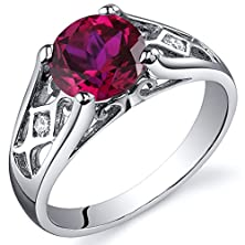 buy Created Ruby Cathedral Ring Sterling Silver Rhodium Nickel Finish 1.75 Carats Size 6