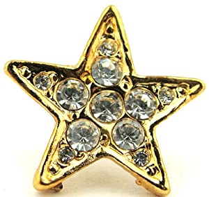 Five Point Star Gold Tone & Crystal Tie Tack Hat Lapel Pin