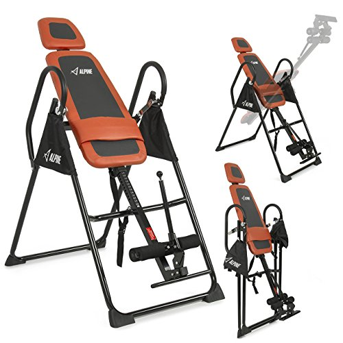 ALPINE© Pro Deluxe Inversion Table Exercise Back Reflexology Foldable, Orange