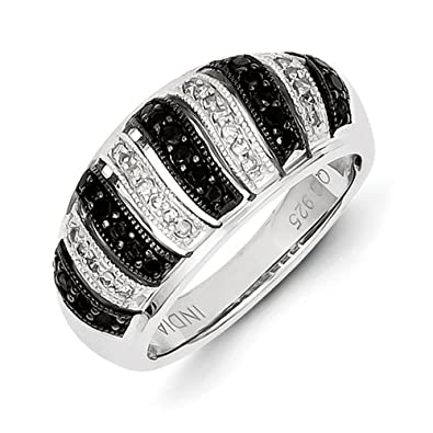 Sterling Silver Black Rough Diamond Fancy Swirl Design Ring - Ring Size Options Range: L to P