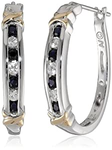 Sterling Silver and 14k Yellow Gold Blue and White Sapphire Hoop Earrings
