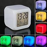 KingMas 7 LED Color Change Digital Alarm Thermometer Clock
