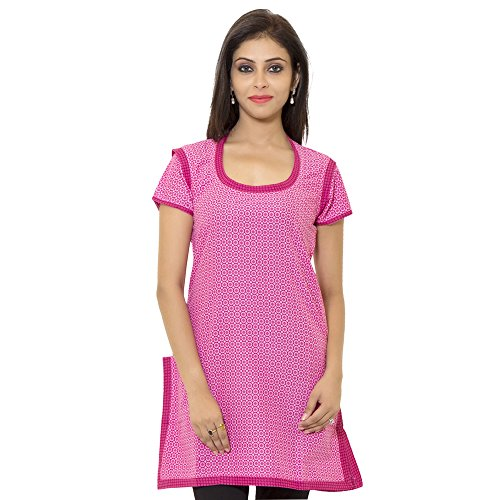 Naksh Jaipur Straight Pink Cotton Self Design Casual Kurti for women  available at amazon for Rs.146