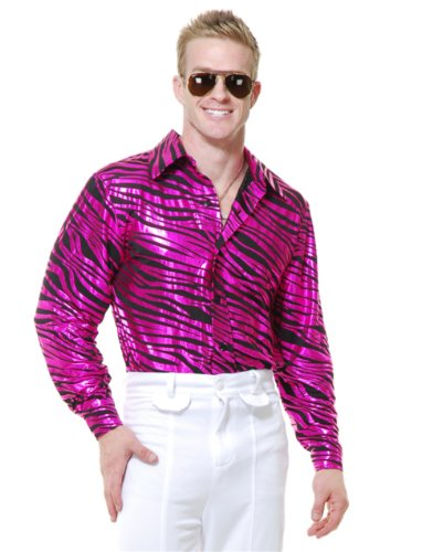 Mens Adults 70s Metallic Fuchsia Zebra Print Disco Shirt