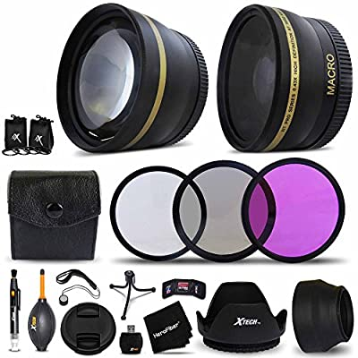 Essential 58mm Accessory Kit for CANON, NIKON, FUJIFILM, SONY, OLYMPUS, SAMSUNG, PANASONIC, PENTAX, and LEICA DSLR Cameras Includes: 58mm Wide Angle Lens + 58mm 2X Telephoto Lens + 58mm HD 3 Piece Filter Kit + 58mm Lens Hood + 58mm Lens Cap + MORE