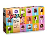 Wilton® Brownie Pops Kit - Bake and Decorate Brownie Pops - includes an 8-cavity round silicone brownie pop mold tray, 12-ounce brownie mix, 1-ounce round confetti sprinkles, 1-ounce rainbow nonpareils, 1-ounce rainbow jimmie sprinkles, 4-ounce light cocoa candy melts, 4-ounce white candy melts, and twenty 8