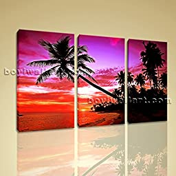 Large Sunset Scene Glow Purple Palm Tree Landscape Photo Print on Canvas Framed 3 Pieces Wall Art Inner Framed Ready To Hang BoYi 44\