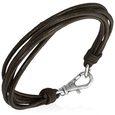 Urban Male Multi Strand Dark Brown Leather Bracelet For Men