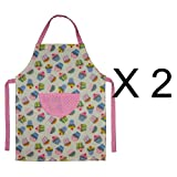 East2eden Set of 2 Cupcake Kids Apron for Cooking Baking Kitchen Pretty Design