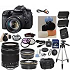 Canon EOS Rebel 70D 20.2 MP Digital Camera with EF-S 18-135mm f/3.5-5.6 IS STM Zoom Lens 33rd Street Bundle with Telephoto & Wide Angle Lenses + 22pc Accessory Kit
