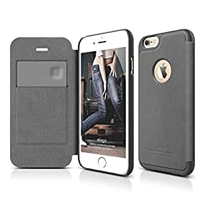 iPhone 6S Case, elago S6 Leather Apple Logo Cutout Flip Case for the iPhone 6/6S (4.7inch) + HD Professional Screen Film included - Full Retail Packaging (Dark Gray / Dark Gray)