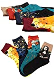 Ivenf 4 Pair Famous Oil Paintings Women's Fashion Socks, Combed Cotton Crew Socks