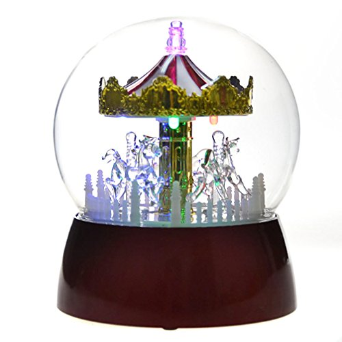 Youseexmas Animated Glass Carousel Music Box With Gift Box